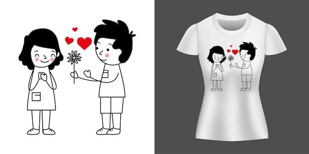 シャツにプリントされた花を与える男の子と愛するカップル。