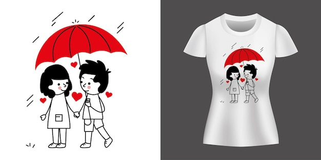 Couple in loving with umbrella walking between rain printed on shirt.