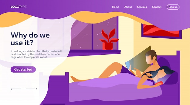 Couple lying in bed and using mobile phones landing page template