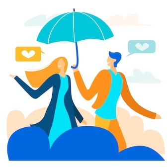 Couple on magic date among clouds metaphor cartoon