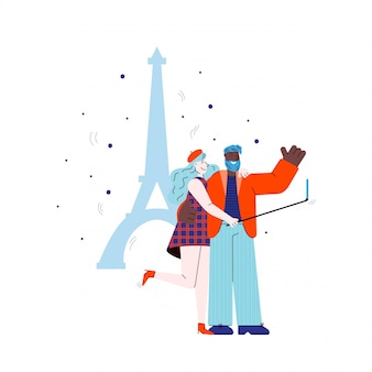 Couple makes selfie on eiffel tower backdrop sketch illustration isolated.