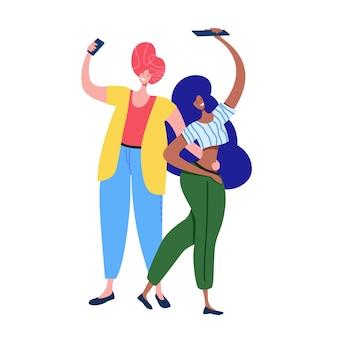 Couple making selfie on smartphone