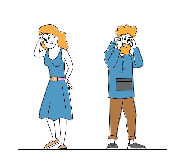 강한 통증을 가진 머리 통증, 남자와 여자를 느끼는 커플 남성과 여성 캐릭터.