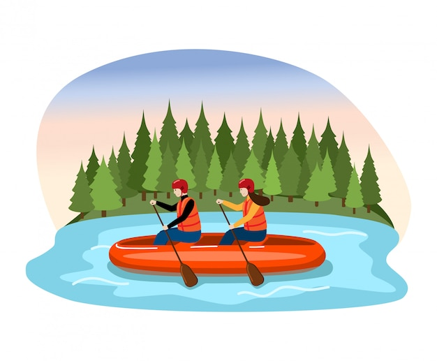 Couple male female character descent raft river, people float and rowing oar mountain lake  on white,   illustration.