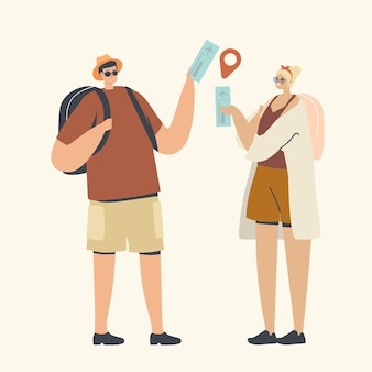 Couple of male and female characters with backpacks hold tickets with gps pin