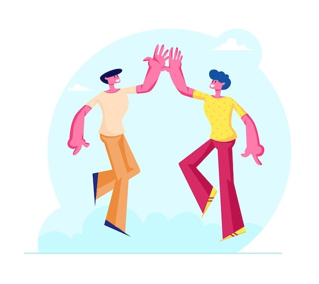 Couple of male friends characters take high five to each other as symbol of friendship and solidarity. cartoon flat  illustration