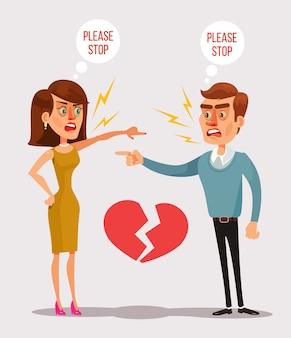 Пара мужчина и женщина персонажей ссорятся.