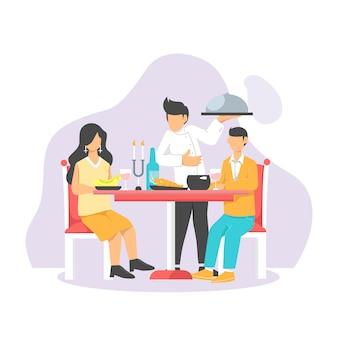 カップルの男性と女性がウェイターが食べ物を提供している間にレストランでデートやロマンチックなディナーを持っていること