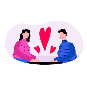 バレンタインデートのカップルの男性と女性