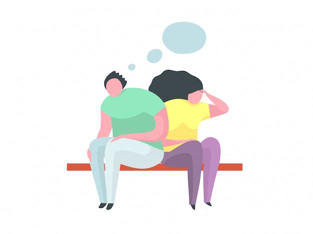 Концепция квартиры проблемы ссоры пар мужчина и женщина плоская