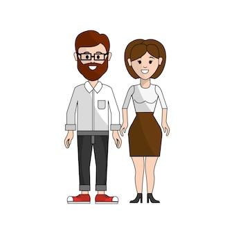 Couple man with beard and woman with shot hair
