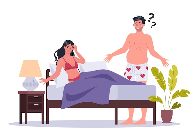 Couple of man and woman lying in bed.  of sexual or intimate problem between romantic partners. sexual unattractiveness, and behavior misunderstanding.