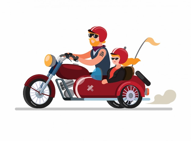 Couple man and woman riding motorbike with sidecar or sespan modification in cartoon flat illustration vector isolated