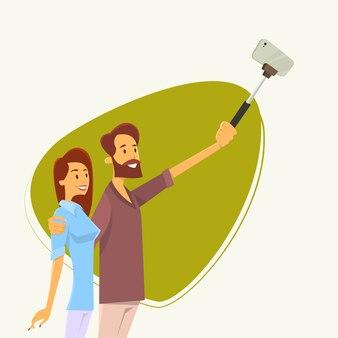 Couple man woman taking selfie photo