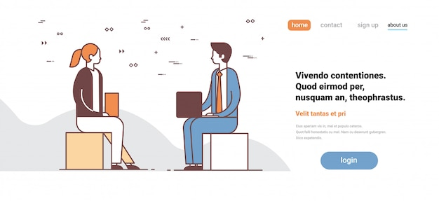 Couple man woman using laptop discussing on business meeting colleagues communication concept male female cartoon character full length horizontal copy space