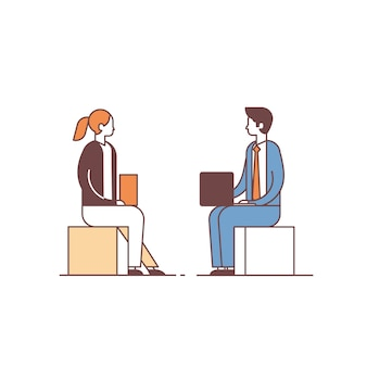 Couple man woman using laptop discussing on business meeting colleagues communication concept male female cartoon character full length