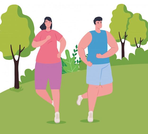 Пара марафонцев, бегущих в парке, женщина и мужчина, бегущая на соревнованиях или марафонских гонках, здоровый образ жизни и спорт