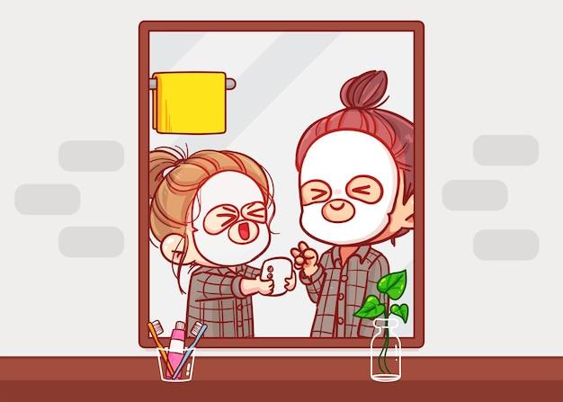 부부는 욕실 거울 만화 예술 삽화 앞에서 얼굴을 함께 표시합니다.