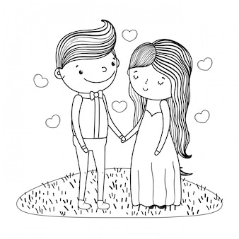 Couple marriage cute cartoon in black and white