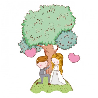 Couple marriage cute cartoon