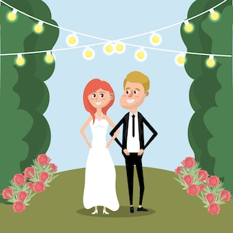 부부는 꽃과 빛으로 결혼