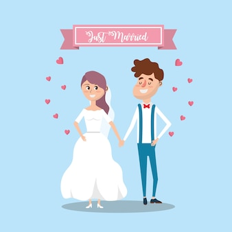 Couple married with ribbon and hearts design