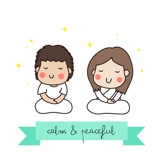 A couple meditating in white outfit