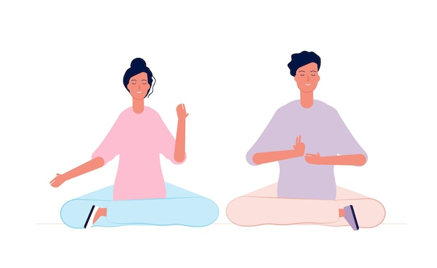 Couple meditation. male and female characters yoga class room sitting family relation vector concept. position balance concentration, fitness exercise asana illustration