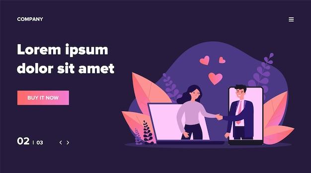 出会い系サイトのカップル会議。幸せな男と女の握手、ガジェットの画面、心の図。オンラインサービス、バナー、ウェブサイトまたはランディングウェブページのインターネットの概念