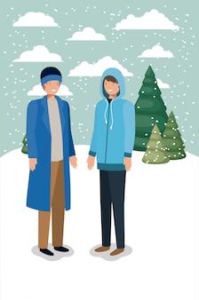 Couple of men in snowscape with winter clothes