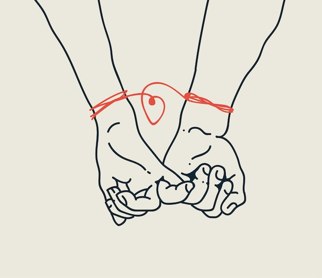 Couple of men and woman or boy and girl relationships concept with two hands little fingers