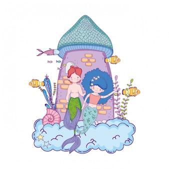 Couple mermaids with castle undersea scene