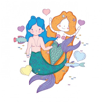 Couple mermaids with hearts characters
