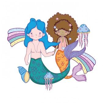 Couple mermaids with rainbow undersea