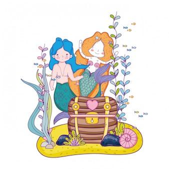 Couple mermaids with treasure chest undersea