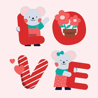Coppia di topi con amore di testo, il giorno di san valentino. stile cartone animato. Vettore gratuito