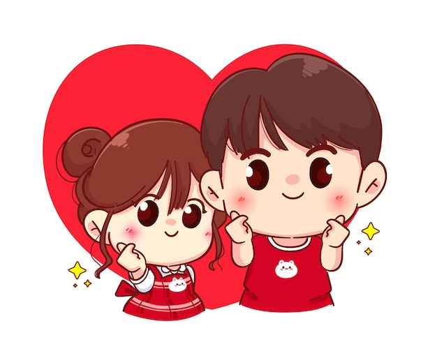 Couple mini heart hand sign, happy valentine, cartoon character illustration