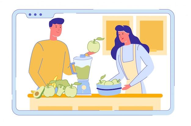 Пара смешивает здоровый овощной коктейль или коктейль.