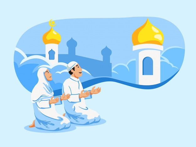 Couple moslem pray and mosque dome background.