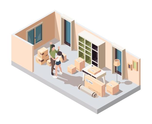 커플 이동 포장입니다. 새 집 아파트 벡터 아이소메트릭 개념에서 패키지를 여는 행복한 젊은 가족. 일러스트 커플 여성과 남성이 새 집으로 이사합니다.