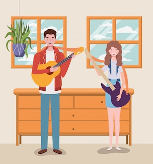 Couple music band playing instruments characters