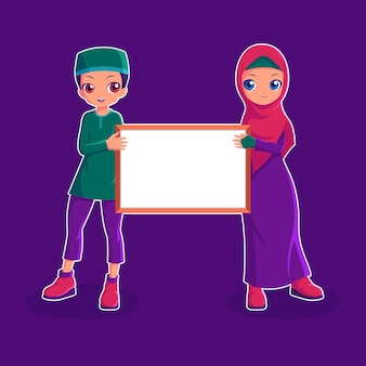 Couple muslim character holding an empty board  illustration