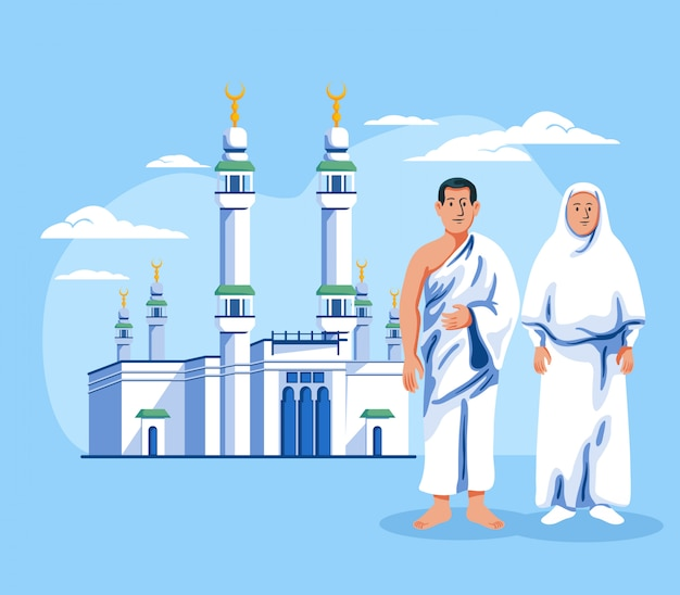 Couple of muslim pilgrim standing in front of masjid al haram.