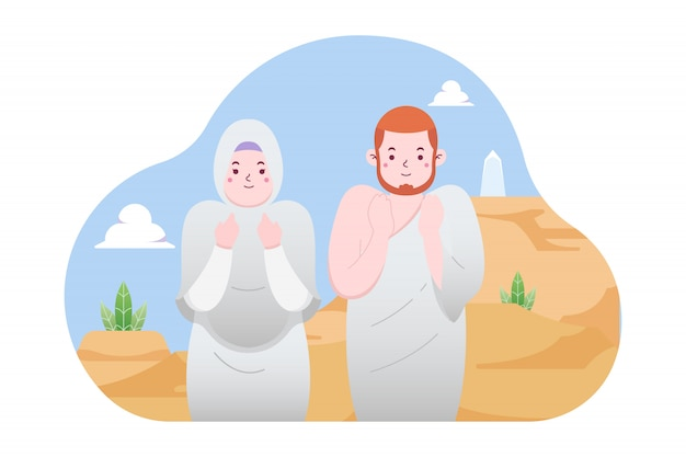 Couple muslim praying at arafat illustration