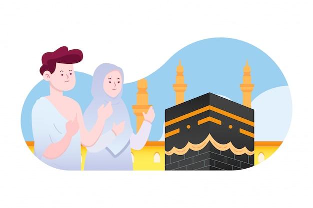 카바 메카 컨셉 아트 앞에서기도하는 이슬람 부부