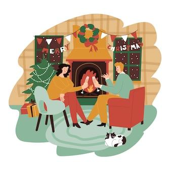 벽난로 근처 커플 샴페인 잔으로 크리스마스 사람들을 축하