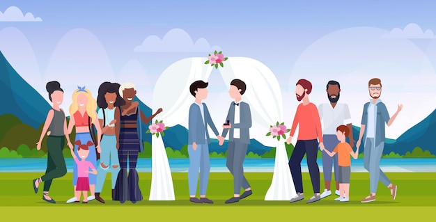 Couple newly weds gays standing behind floral arch same gender happy married homosexual family wedding celebrating concept landscape background full length flat horizontal