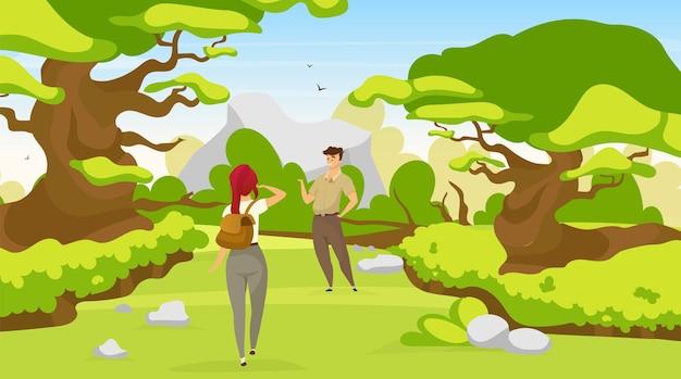 平らなバックパッカーのカップル。森の上の女性と男性の燃える道。森の中の小道を歩くトレッカー。ハイカーは熱帯雨林で道を探します。観光客の漫画のキャラクター
