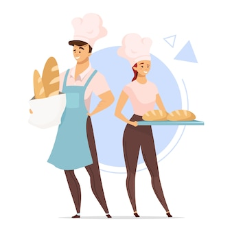 Пара пекарей плоский цветной иллюстрации. концепция пекарни. мужские и женские герои мультфильмов, держа хлеб. пищевая промышленность. изолированные мультипликационный персонаж на белом фоне