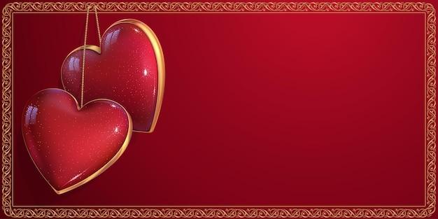 美しい心のカップル。関係、結婚式またはバレンタインデーへの招待のための豪華なテンプレート。赤い空のカードは、2つのハートとヴィンテージのボーダーで飾られています。 3dリアルな宝石アクセサリー。 Premiumベクター